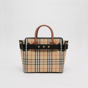 BURBERRY SMALL VINTAGE CHECK TRIPLE STUD BELT BAG