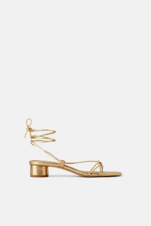 GOLD STRAPPY HEALED SANDALS (ZARA)
