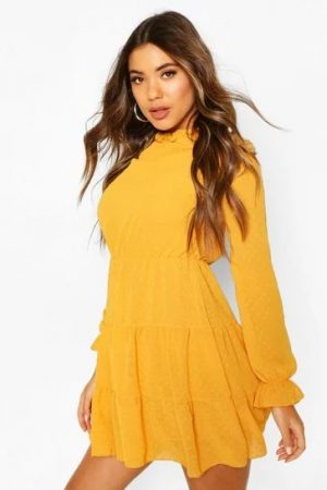 Boohoo Yellow Smock Dress